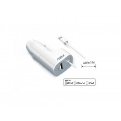 110-00079 CARICA BATTERIA AUTO 1P USB MFI WH 2.4A LIGHTNING MADE FOR APPLE ADJ 8058773830838 ADJ