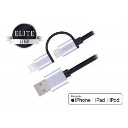 110-00099 CAVO USB2IN1 LIGHTNING/M*USB MFI BK RIVEST.NYLON/CONN.METALLO 1.5MT ADJ 8058773835802 ADJ