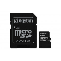 SDCS/16GB SD MICRO 16GB CL10 UHS-I CON ADATT. 80MB/S LET.10MB/S SCRIT.KINGSTON 740617274646 KINGSTON
