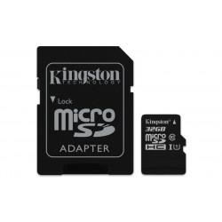SDCS/32GB SD MICRO 32GB CL10 UHS-I CON ADATT. 80MB/S LET.10MB/S SCRIT.KINGSTON 740617274707 KINGSTON