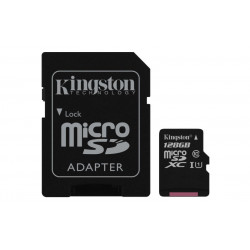 SDCS/128GB SD MICRO 128GB CL10 UHS-I CON ADATT 80MB/S LET.10MB/S SCRIT.KINGSTON 740617274820