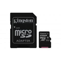SDCS/256GB SD MICRO 256GB CL10 UHS-I CON ADATT 80MB/S LET.10MB/S SCRIT.KINGSTON 740617274882