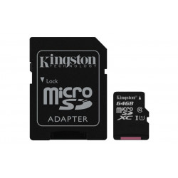 SDCS/64GB SD MICRO 64GB CL10 UHS-I CON ADATT. 80MB/S LET.10MB/S SCRIT.KINGSTON 740617274769 KINGSTON