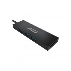 143-00018 HUB DOCK TYPE C MULTIPORT BK 3*USB3.1+CARD READER SD/MIC.SD ADJ 8058773839862 ADJ